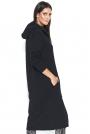 Czarna Długa Bluza z Kapturem Zapinana na Suwak