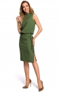 Zielona Zbluzowana Midi Sukienka na Stójce bez Rękawów
