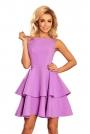 Fioletowa Sukienka Rozkloszowana z Podwójną Falbanką