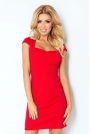 Czerwona Sukienka z Przeszyciami z Mini Rękawkiem