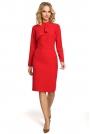 Czerwona Sukienka Dopasowana z Ozdobnym Żabotem