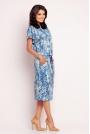 Niebieska Prosta Sukienka Midi z Troczkami w Pasie