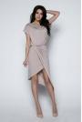 Mocca Sukienka z Kopertowym Asymetrycznym Dołem