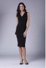 Czarna Ołówkowa Sukienka Midi bez Rękawów z Kopertowym Dekoltem