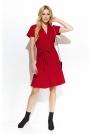 Czerwona Rozkloszowana Sukienka z Kopertowym Dekoltem Przewiązana Paskiem