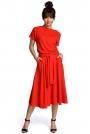 Czerwona Midi Sukienka z Szerokim Dołem