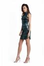 Seksowna Zielona Krótka Sukienka z Półgolfem