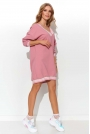Sportowa Sukienka Pastelowa z Taśmami - Różowa