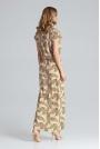 Wzorzysta Sukienka Maxi w Liście z Dekoltem V