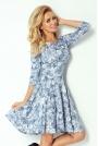 Niebieska Sukienka w Kwiaty z Długim Rękawem