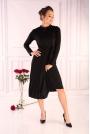 Czarna Plisowana Sukienka z Zabudowanym Dekoltem