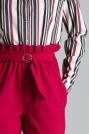 Bordowe Klasyczne Spodnie Marszczone w Talii z Paskiem