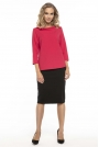 Elegancka Czerwona Bluzka z Kołnierzem Jackie Kennedy