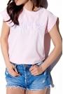 T-shirt z Haftowanym Napisem - Różowy
