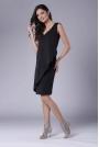 Czarna Dopasowana Sukienka bez Rękawów z Asymetryczną Falbaną