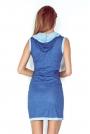 Niebieska Sukienka z Kapturem w Marynarskim Stylu