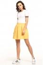 Żółta Krótka Spódnica z Głębokimi Zakładkami