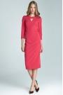 Fuksja Wizytowa Sukienka Midi z Pęknięciem przy Dekolcie