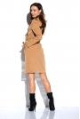 Kamelowa Kopertowa Sukienka z Kieszeniami