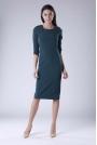 Zielona Klasyczna Dopasowana Sukienka Midi