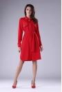 Czerwona Sukienka Koszulowa z Kieszeniami i z Paskiem