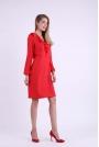 Czerwona Wizytowa Sukienka z Falbanką przy Dekolcie V