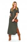 Khaki Nowoczesna Dresowa Maxi Sukienka z Krótkim Rękawem