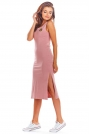 Różowa Bawełniana Dopasowana Sukienka z Rozporkami