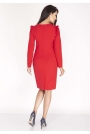 Czerwona Sukienka Ołówkowa z Falbankami na Ramionach