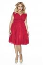 Czerwona Sukienka z Kopertowym Dekoltem PLUS SIZE