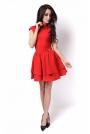 Czerwona Sukienka z Niewielką Stójką z Falbankami