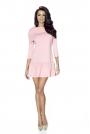 Jasno Różowa Sukienka z Falbanką i Wykładanym Golfem