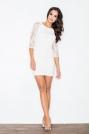 Ecru Modna Zmysłowa Koronkowa Sukienka