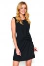 Czarna Krótka Sukienka z Efektowym Przełożeniem