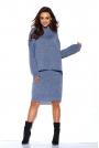 Jeansowy Komplet Oversizowy Półgolf +Ołówkowa Midi Spódnica