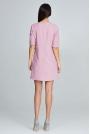 Różowa Elegancka Krótka Sukienka z Falbankami