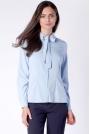 Elegancka Błękitna Koszulowa Bluzka z Wiązaniem przy Kołnierzyku