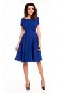 Niebieska Rozkloszowana Sukienka z Podkreśloną Talią