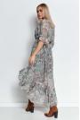 Wzorzysta Asymetryczna Sukienka z Falbankami - Wzór 22