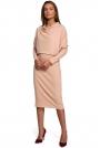Kimonowa Sukienka z Ołówkowym Dołem - Beżowa