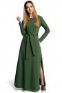 Zielona Sukienka Dresowa Maxi z Dekoltem Caro z Rozcięciem