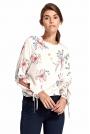 Kwiatowa Ecru Elegancka Bluzka z Wiązaniem przy Rękawach