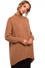 Kamelowy Luźny Sweter z Półgolfem