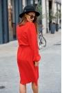 Czerwona Sukienka Kopertowa za Kolano