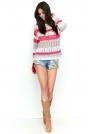 Biało Jasnoszaro Malinowy Ażurowy Sweter w Kolorowe Pasy
