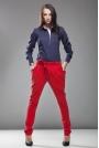 Czerwone Modne Zapinane na Boku Spodnie