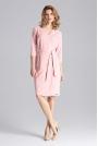 Różowa Klasyczna Kopertowa Sukienka z Paskiem