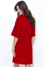 Czerwona Dresowa Sukienka z Szerokim Rękawem do Łokcia