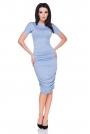 Niebieska Sukienka Bodycon Drapowana na Bokach