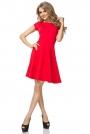 Czerwona Sukienka Klasyczna Rozkloszowana z Mini Rękawkiem